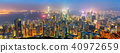 Panorama of Hong Kong Island in the evening, China 40972659