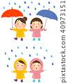 雨和兒童的插圖【雨傘·雨衣】 40973151