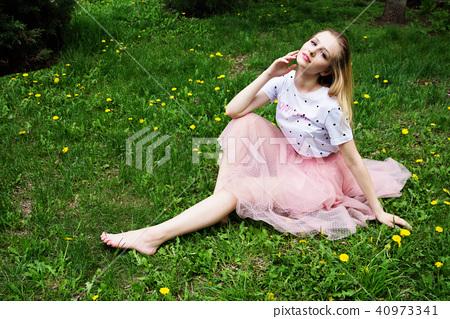 Beautiful barefoot girl. 40973341