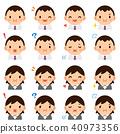 胖工人女性西裝面部表情臉可愛平面圖標集 40973356