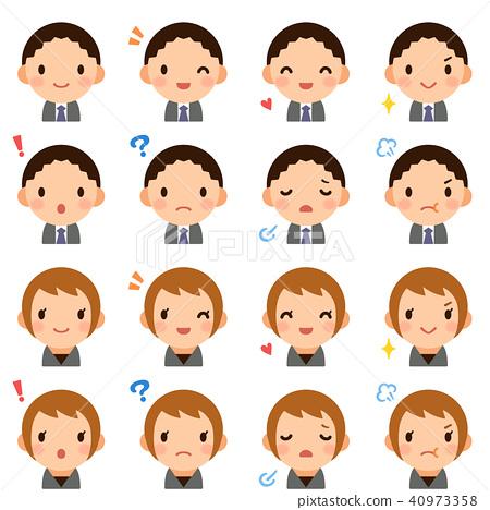 30的辦公室工作人員男性/女性西裝面部表情可愛平面圖標集 40973358