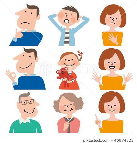 스마트 B 가족 3 세대 6 명의 불안과 안심 표정 세트 (남성용 의류 / 하늘색) 40974523