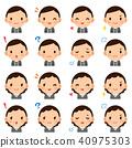 中年辦公室工作者男性/女性衣服面孔表示逗人喜愛的平的象集合 40975303
