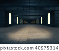 Long dark corridor interior with  light glow. 40975314