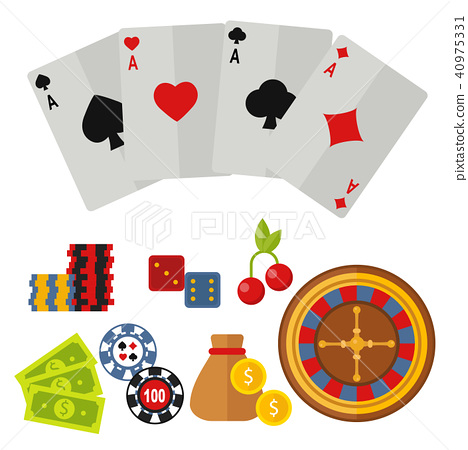 Casino Icons Set With Roulette Gambler Joker Stock Illustration 40975331 Pixta