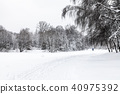 view of snow-covered urban park in winter 40975392