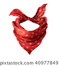 Vector 3d realistic red neck scarf, neckerchief 40977849