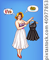Vector overweight woman holds little black dress 40977853