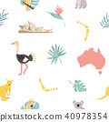 Seamless pattern australian landmarks and animals 40978354