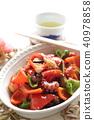 fried, vegetables, octopus 40978858