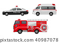 경찰차, 구급차, 소방차, 세트 40987078