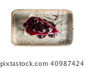 Top view of blueberry cheese cake isolated 40987424