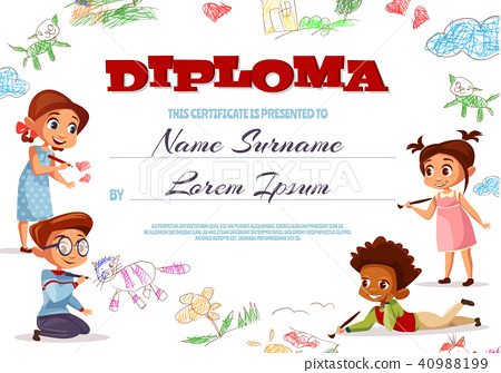 Kids diploma certificate vector illustration 40988199