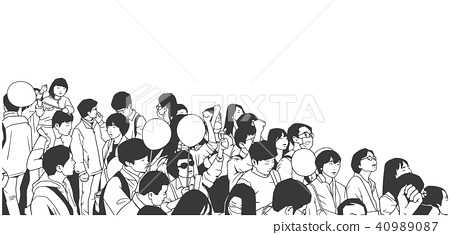 Line art illustration of asian protesters 40989087