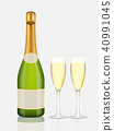 Champagne bottle and champagne glass on white 40991045