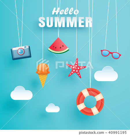 Hello summer with origami hanging on the sky  40991195