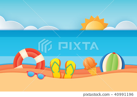 Summer time sea view with equipment on the beach  40991196