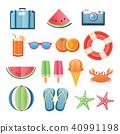 Summer sticker icon set paper art design.  40991198