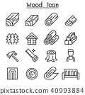 Wood icon set in thin line style 40993884