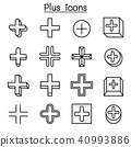 Plus, Positive , Cross Add icon set in thin line 40993886