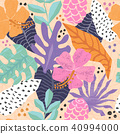 Vector seamless pattern with tropical  leaves. 40994000
