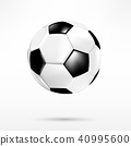 3D black and white soccer ball on white background 40995600