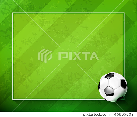Soccer ball with green glass field 002 40995608