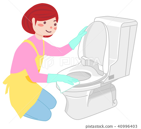 Housewife to clean the toilet - Stock Illustration [40996403] - PIXTA