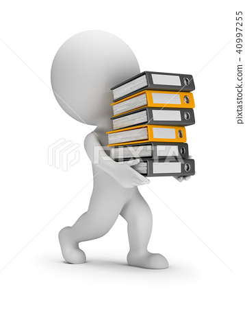 3d small people - carries a stack of folders 40997255