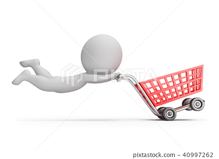 3d small people - fast shopping cart 40997262