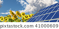 Solar panel and sunflowers 41000609