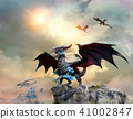 Dragon scene 3D illustration 41002847