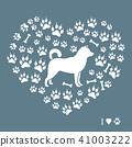 Shiba Inu silhouette on a background of dog tracks 41003222
