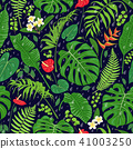 Tropical  Leaves and Rain Drops  Pattern 41003250