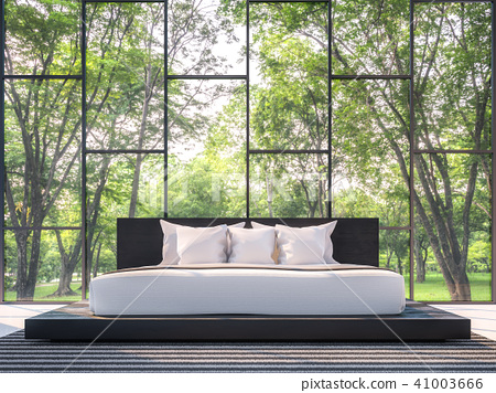 Modern bedroom with garden view 3d render 41003666