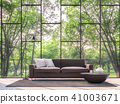 Modern living room with garden view 3d render 41003671