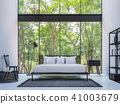 Modern loft bedroom with nature view 3d render 41003679