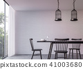 Modern loft dining room with nature view 3d render 41003680