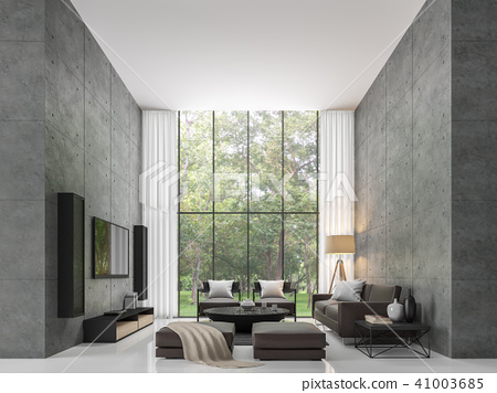 Modern loft living room 3d render 41003685
