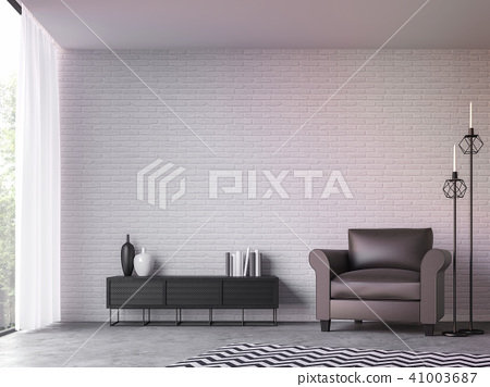 Modern loft living room 3d render 41003687