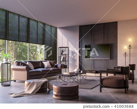 Modern loft living room 3d render 41003688