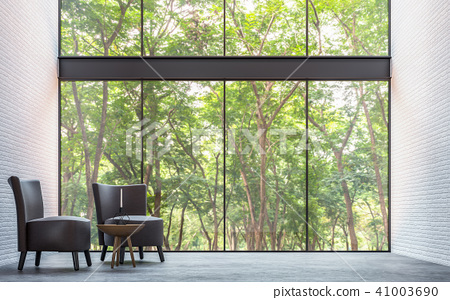 Modern loft living room with nature view 3d render 41003690
