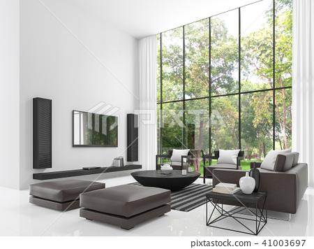 Modern white living room 3d render - Stock Illustration [41003697 ...