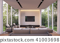 Modern living room with garden view 3d render 41003698