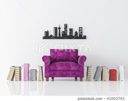 Modern white living room minimal style 3d render 41003701