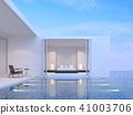 Pool villa bedroom with sea view 3d render 41003706