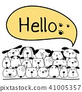 Cute Dog With Say Hello. Vector Illustration. 41005357