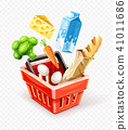 Shopping basket with organic food 41011686