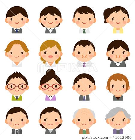 다양한 세대의 직장인 남녀 정장 얼굴 표정 귀여운 플랫 아이콘 세트 41012900