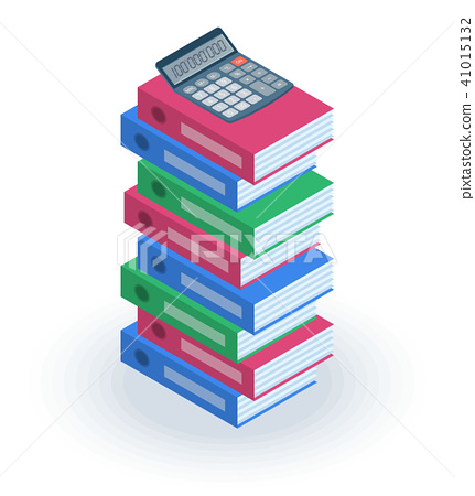 The pile of office file folders with calculator 41015132